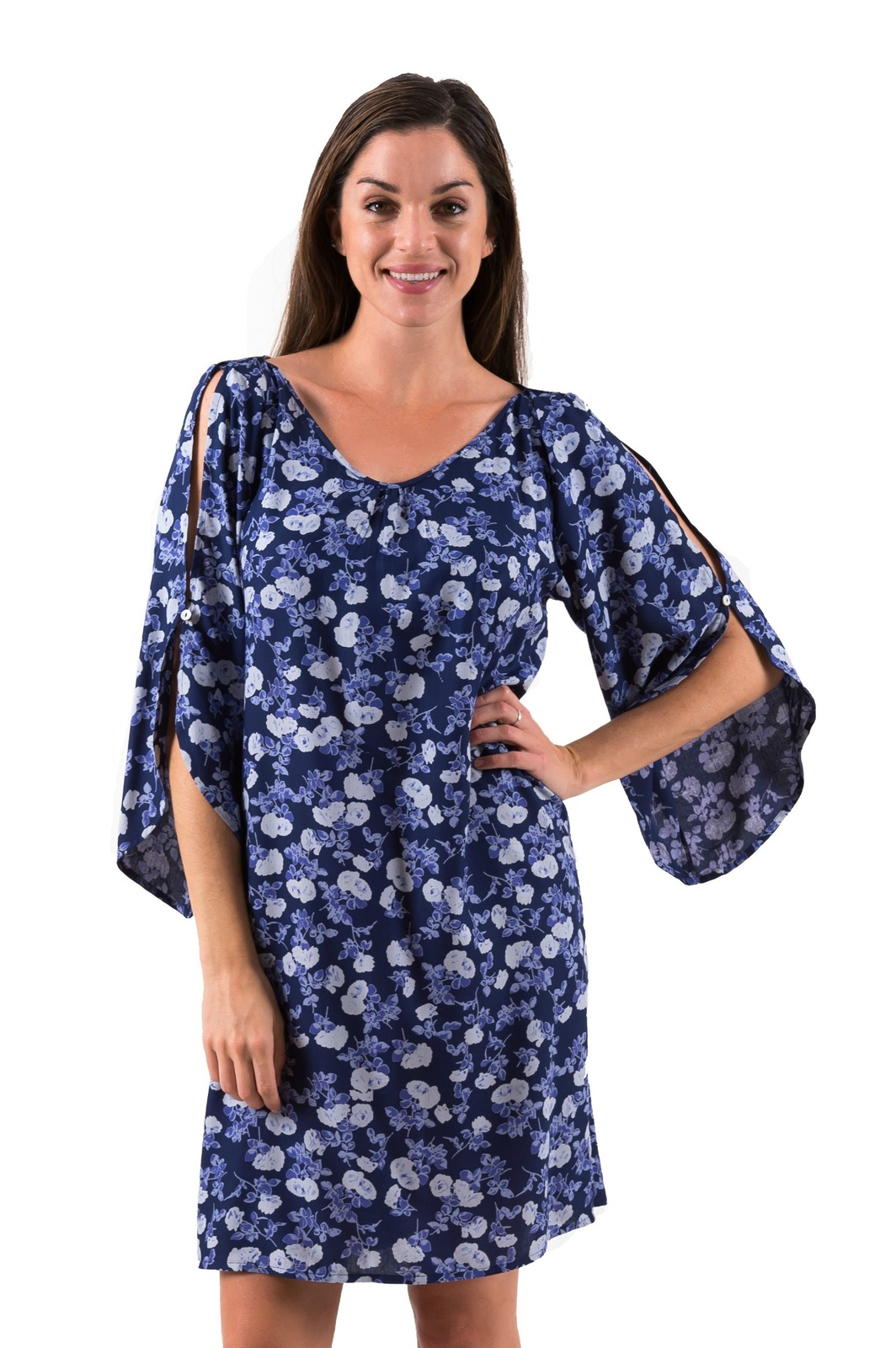 Mimi | Cool Open Sleeve Dress | Floral Blues