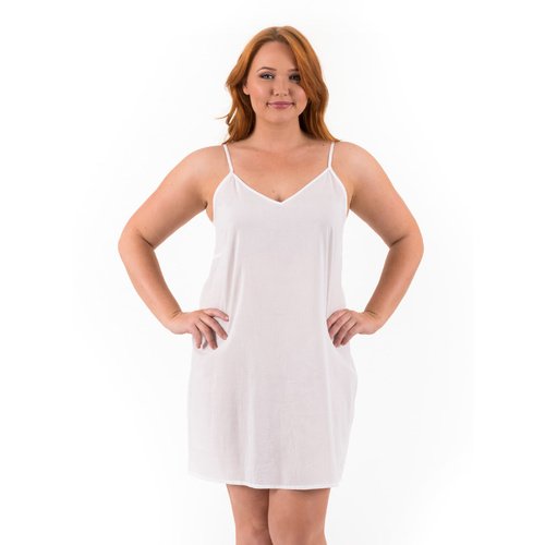Celine | Cotton Dress Slip | A Line | White | 3XL