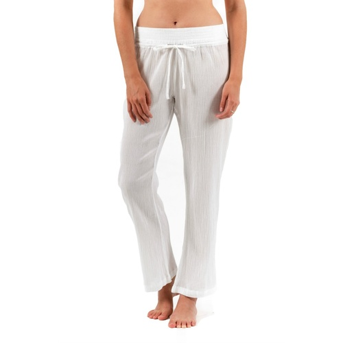 Beach Resort Pants | Crinkle Cotton | White